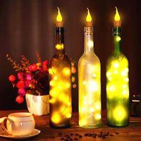10x Botella de vino cálido Forma de vela Luz de cadena 20 LED Luces de hadas de la noche Lámpara para fiesta, boda, decoración interior, decoración al aire libre