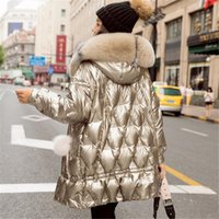 Women Winter Duck Jacket Hooded Big Vos Bontkraag Puffer Jas Korean Shiny Womens Down Jassen Park