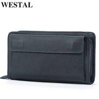 WESTAL Clutch Wallet Male Leather Men Money Genuine Wallets Portomonee Bag Purse For Business Men's Mnlsc