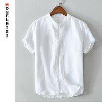 جديد عارضة الرجال الأبيض قميص الصيف الكتان القطن قصير الأكمام قمم الصلبة تنفس مريحة الرجل 4xl الملابس 5621