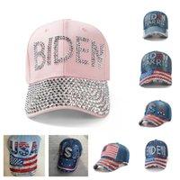 Casquillos unisex Rhinestone Biden sombrero de vaquera Snapbacks pelota de béisbol Presidente Diamond Biden Harris EE.UU. Bandera del vaquero visera Sport HeadwearE111802