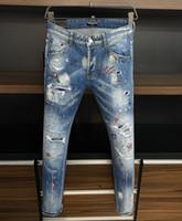 Marka Kot Erkek Lüks Tasarımcı Kot Sıska Yırtık Serin Guy Nedensel Delik Denim Moda Marka Fit Jeans Erkekler Yıkanmış Pantolon 7815