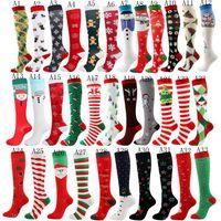 Weihnachtskompressionssocken für Frauen Männer Knie laufen Sportstrümpfe für Fußball Radfahren Unisex Socken Baumwild Gestreifte gedruckte Socken