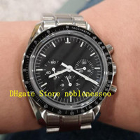 Mens Acciaio Automatico Black Dial Luna Guarda Uomo Uomo Professionale Brow Arrow Chronograph No Work Mechanical Men's Orologi da uomo Orologi da polso