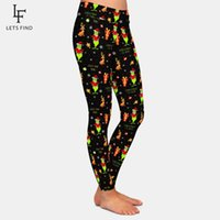 LetSfind New Workout Leggings Fashion Femmes Taille haute Taille de Noël Imprimé de Noël Plus Taille Black Leggings 201203