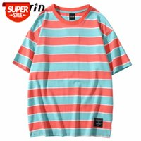 Lenstid Hip Hop Verde Listrado T Shirt Mens 2020 Streetwear Harajuku Vintage Tshirt T-shirt de Algodão de Manga Curta Tops de moda Tees # Wl0z