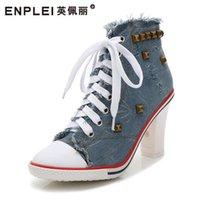 Stivali Enplei Donne Denim Tacchi alti Rivetti Scarpe Canvas Moda Scarpe Sneakers Sneakers Short 34-40