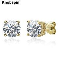 Knobspin 100% 925 Sterling Sterling Real 0.5 / 1 Carat D Couleur Moissanite Goujons de mariage pour femmes Fête Fête Bijoux Cadeau