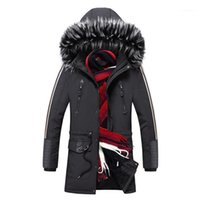 Мужская траншея Пальто Кимсера Мужчины Зима Теплые Длинные Parkas Хлопковые Подкладки Куртки и Толстые Тепловые пальто Верхняя одежда для мужчин с меховым капюшоном1