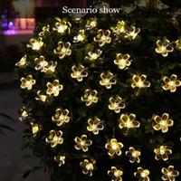 Luzes conduzidas solares da corda de luz da corda de cerejeira da flor da flor de cerejeira 22m Flor de cristal da flor da flor de cristal Garden do Natal da flor de Natal iluminação exterior da decoração do casamento
