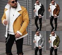 Erkekler Için Motosiklet Deri Ceket Deri Ceket Erkekler Kış Moda Kürk Ceket Turn-down Yaka Fermuar Artı Boyutu Katı Uzun Kollu Erkek Giysileri