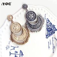 Iyoe Jewelry Boho Etnico Etnico Goccia Earring Hollow Silver Color Coin Coin Round Ciondola Dangle Metal Tassel Orecchini Donne Gioielli antichi