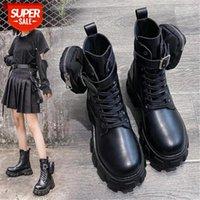 Sapatos de inverno Motocicleta tornozelo Carteira Combate Botas para mulheres plataforma de couro artificial bloco de bloco de bloqueio sapatos senhoras # SG8C