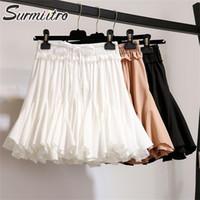 Surmiitro Beyaz Siyah Şifon Yaz Şort Etek Kadın 2020 Moda Kore Yüksek Bel Tutu Pileli Mini Güneş Okul Etek Kadın LJ200820