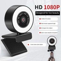 링 라이트 뷰티 카메라가있는 2K HD 웹캠 전체 HD 1080P 웹캠 비디오 스트리밍 회의를위한 게임 웹 카메라