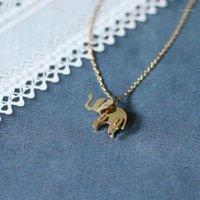 Кулон Ожерелья Слон Ожерелье из нержавеющей стали Золотой Цвет для Женщин Дети Девушки Головоломки Геометрия Изящное Ожерелье1
