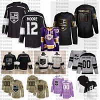 2021 Retro Retro Personalizar # 12 Trevor Moore Los Angeles Kings Jerseys Golden Edition Camo Veteranos Día Fights Cancer Hockey Jersey