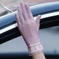 Cinco Dedos Luvas Mulheres Proteção Sun Elastic Lace Design De Seda Fina Touch Screen Anti-UV Skid para Condução Ao Ar Livre1