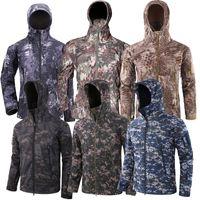 Зимние люди на открытом воздухе камуфляж тактические куртки водонепроницаемые одежды охотничьи ветровка с капюшоном дождевик лыжные туристы Jackets мужчина 201127