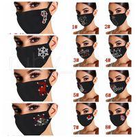 Máscaras de Natal com diamante lavável reutilizável respirável Dustproof 2021 Ano Novo máscara facial 12styles RRA3830