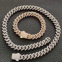 12mm largo 316L in acciaio inox bling ghiacciato a rombo custodia cubana a catena di collegamento collane per uomo hip hop rapper gioielli
