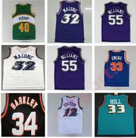 Retro Basketball-Trikots Garnett 33 Hill Ason Stockton 32 Karl Malone Jason Williams Ewing Gary Payton Kemp Barkley Jersey NCAA
