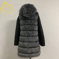 Fanpuguizhen inverno grosso quente falso casaco de pele de pele: zíper mulheres plus tamanho manga longa removível e jaqueta de pele faux hoped lj201204