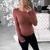 Мода 2021 осень зима женская о-шеи теплая одежда с длинным рукавом женщин сексуальный боди Slim Fit мода твердой костюма тела