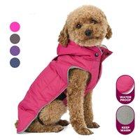 따뜻한 작은 개 옷 겨울 방수 개 코트 양털 Doggie 후드가없는 비옷 애완 동물 의류 조끼 반사 강아지 자켓 T200710