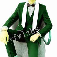 Handsome One Button Groomsmen Shawl Lapel Groom Tuxedos Men Suits Wedding Prom Best Blazer ( Jacket+Pants+Vest+Tie) B192