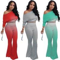 Sexy Schrägsender Schulter Langarm Pflanze TOP FLARED Hosen Hosen Gradient Mode Trainingsanzug Zwei Teile Sport Outfits Für Frauen H2203
