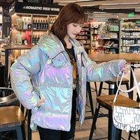 FitAylor New Women Women con capucha Chaqueta de color brillante gruesa gruesa cremallera caliente Abrigo a prueba de viento Abrigo de algodón suelto Color Color Parka