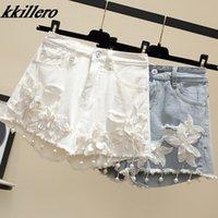 Kkillero мода жемчуг бисером цветочные джинсовые шорты женщин летом свободные отверстия высокая талия 2 цветов плюс размер Y200512