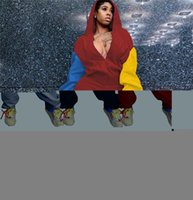RSTYLISH 2 Stück Outfits Frauen Patchwork Gebrochene Löcher Reißverschluss Sweatshirt Hoodies Länge Hosen Anzug Casual Trainingsanzug Streetwear