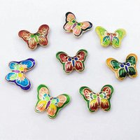 5 unids Cloisonne esmalte de mariposa accesorios collar de bricolaje Joyas de fabricación de suministros Pulsera Material de cuentas Hallazgos