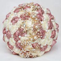 7colors 진주 신부 웨딩 장미 꽃다발 우아한 꽃다발 신부 들러리 손을 잡고 가짜 꽃 골드 다이아몬드 파티 선물 W322G1