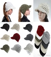 Femmes Ponyes Bonnets de baseball Hiver Femmes Hiver Chapeau tricoté Chapeau Chaud Horseai Skull Beanie Crochet Ski Cap DA056