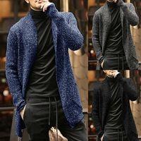 أحدث الأزرق الشتاء الدافئ رجل سترة طويلة سترة عارضة متماسكة البلوزات للرجال الأزياء بلون الخريف قميص معطف قمم