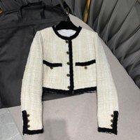 Stripes Kette Patchwork Runway Kurze Designjacke für Frauen Neue Herbst Oansatz Single Breasted Retro Wolle Mischungen Tweed Mantel