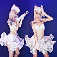 무대 착용 의상 화이트 레이스 프릴 스커트 섹시한 비키니 양복 여성 극 댄스 의류 나이트 클럽 가수 DJ Rave Outfit DN62841