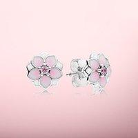 핑크 목련 귀걸이 아름 다운 여자 쥬얼리 Pandora 925 스털링 실버 꽃 스터드 귀걸이 세트