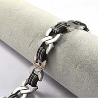 Link link pulseira de aço pulso de borracha de prata preto elegante homens
