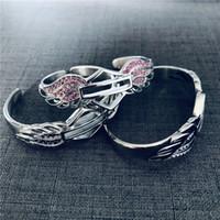 Новейшие розовые черные чистые хрустальные крылья мотоциклы браслеты из нержавеющей стали 316L угла крылья угла крылья для леди