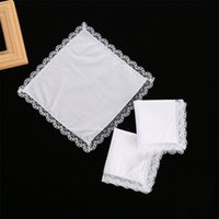 25 cm de encaje blanco Pañuelo delgado 100% algodón toalla mujer regalo de boda decoración de fiesta servilleta bricolaje liso en blanco pañuelo DBC 219 G2