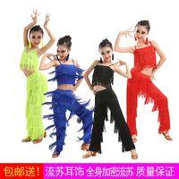Vestidos de dança latina vestidos de salão franja borla vestido calças sequin franja samba traje crianças crianças meninas altura 110 -170cm1