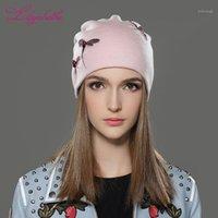Beanie / Kafatası Kapaklar Liliyabaihe Kadınlar Kış Şapka Örme Yün Rahat Kap Katı Renkler Femme Beanienow Girls1 için En Çok Dekorasyon1