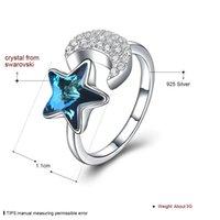 Lycani verwendet Swarovski Elemente Crystal Ring Europäische und amerikanische Schmuck Sterling Silber 925 Stern- und Mondöffnungsring