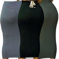 Mujeres largas maxi falda de color sólido de color de cintura alta de cintura elevada Jersey de verano Cuerda Bodycon Tubo Estiramiento Lápiz Falda Elegante Tallo Máx Faldas