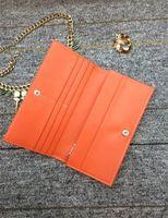 Moda caliente de cuero genuino largo doble doble plegable Goya Orange Richelieu recubierto de lona de lona hombre mujer París estilo GY Long Wallets Titulares con caja