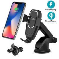 Evrensel 10 W Araba Qi Kablosuz Şarj iphone 8 XR X XS Cep Telefonu Tutucu Hızlı Şarj Samsung S9 S10 Artı